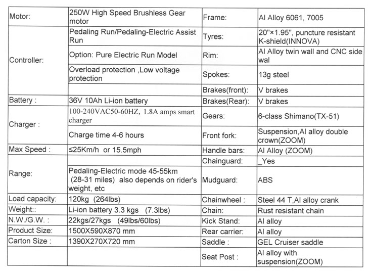 folding electric bike specifications